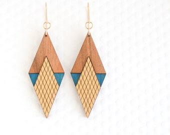 Art Deco Diamond Earring : in Azure / Gold – Modern Minimalist Geometric Jewelry for Women