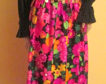 Gypsy Dress. Vintage Boho Hippie Maxi Dress with Gold Coins.  Floral Maxi Dress.