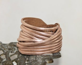 Wrap Leather Bracelet,Multi-Strand Leather Bangle,Sliced Rose Gold Genuine Leather Cuff