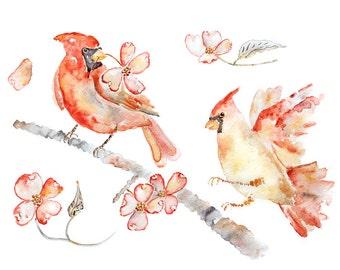 Cardinal Print, Cardinal Painting, Red, Pink, Spring Decor, Baby Girl Gift, Girl's Nursery Art, Bird Painting, Virginia, Cardinal Art