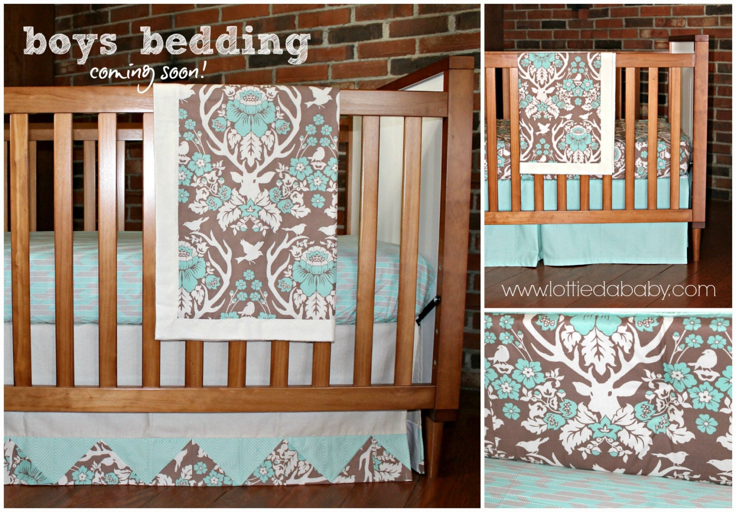 Deer Baby Boy Bedding Modern Rustic Antler Design By