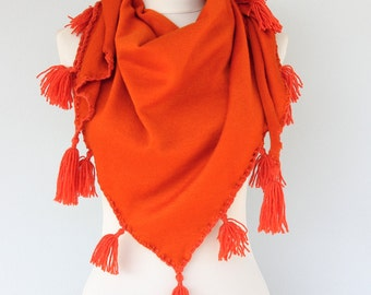 Knit scarf tassel scarf burnt orange scarf triangle scarf scarves for women winter fall wrap boho clothing bohemian scarf gift for her