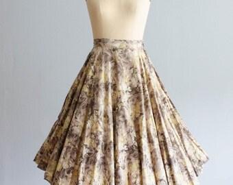 50s Floral Skirt - Vintage 1950s Circle Skirt - Fleurs Fondre Skirt