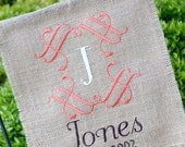 Personalized Embroidered Burlap Garden Flag