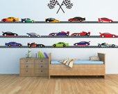 Race Car Decals 24 FEET of ROADWAY Reusable Decal Non-toxic Fabric Wall Decals for Kids, A179