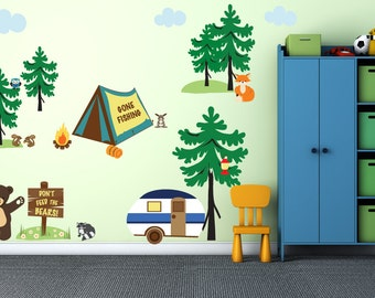 Camping Decal Pine Tree Decal REUSABLE Fabric Wall Decals for Kids, Boys Decal, WPD