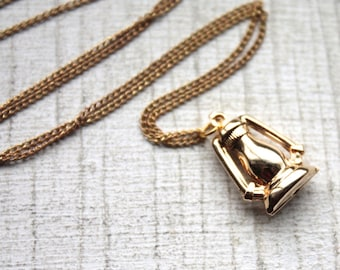 1950s Brass Lantern Charm Necklace // Camping Outdoor Adventure // Handmade Vintage Novelty Necklace