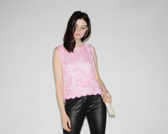 Pink Sequin Top - Vintage Sequin Tops - The Girl Named Candy Top  - 10010