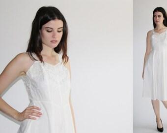 D - Vintage 1940s White Dress -  40s Eyelet Lace  Dress - The Mountain Wedding Dress - 8040