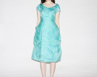 50s Turquoise Blue Prom Dress - Vintage 1950s Turquoise Wedding Dress - The Aqua Dream Dress - 9045