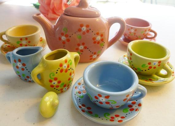 Child's Tea Set..Hand Painted Tea Set..13 Piece Porcelain Tea Set ..4 Baby Washcloth Napkins ..Toddler Birthday Gift..Tea Party   :)