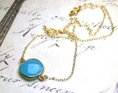 Blue Chalcedony Necklace - Genuine Stone Pendant in 14K Gold Filled - Light Blue Faceted Stone with Gold