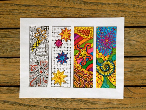 Digital Zentangle Bookmarks Coloring