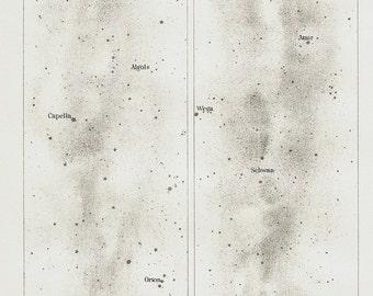 1898 Original Antique astronomy print, Northern milky way constellations