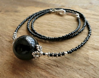 Black Onyx & Silver Necklace, stone sphere beaded necklace with silver accents, elegant Bohemian crystal ball jewelry