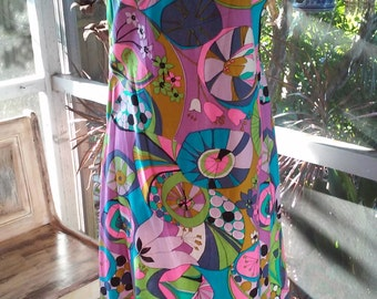 60s AMAZING PRINT COTTON Dress--Bright Pop Colors--Dropped Waist Like a Flapper Dress--Fish Tail Hem--Pinks, Blues and Lilacs--Size 10