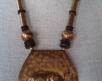 70s HAMMERED BRASS ELEPHANT Necklace--Made in India--Huge!