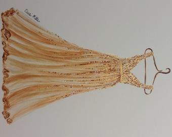 Fashion Illustration, Painting of Dress, Gold Gown, Fashion Sketch, Fashion Print, Dress Painting, Party Dress.