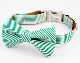Bow Tie Dog Collar - Green and White Stripe