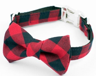 Bow Tie Dog Collar - Red and Black Plaid