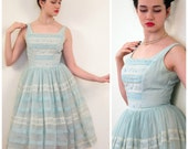 Vintage 1950s Mint Green and White Party Dress / 50s Sleeveless Dress with Circle Skirt / Small