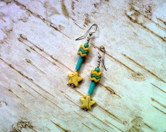 Turquoise and Yellow Star Earrings (1905)