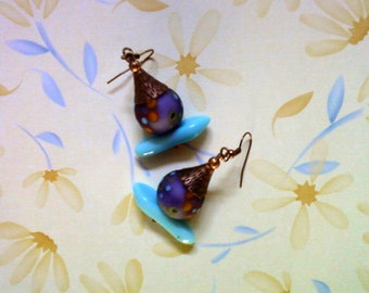 Funky Aqua Blue, Purple and Orange Earrings (2007)