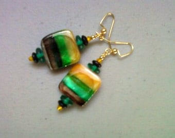Yellow, Green and Black Shell Earrings (0676)