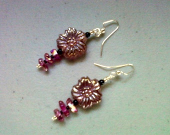 Pink Flower Earrings (0759)