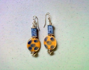 Denim Blue and Gold Spotted Earrings (1456)