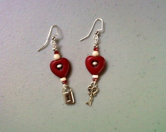 Red and White Key to My Heart Earrings (1186)