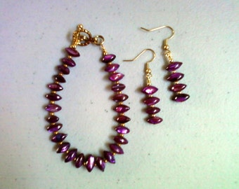 Purple Shell Bracelet and Earrings (0144)