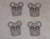 Feltie Machine Embroidered Hand made (4) Felt Mouse CUT Embellishments / appliques