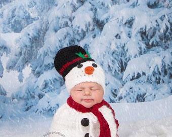 Newborn Snowman Hat/ Newborn Snowman Hat and Swaddle Sack/ Christmas  Baby Photo Prop/  Crochet Snowman Hat/2 week turn around