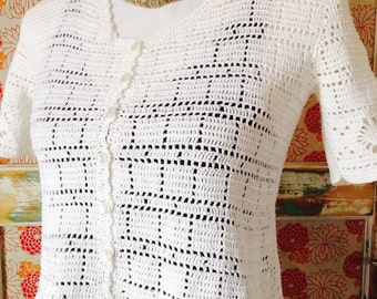 French antique white crochet lace cotton sweater top