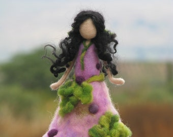 Needle felted Waldorf inspired doll Garden fairy Gift Home decor