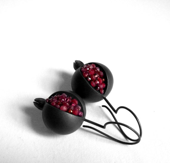 Pomegranate Earrings - Pomegranate Silver Earrings - Gemstone Silver Earrings - black pomegranate earrings - black pomegranate jewelry