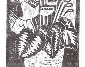 Flower pot, an original woodblock print
