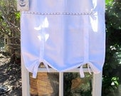 Tie Up Curtain with Monogram, Fleur de Lis French Cotton White Panel, Machine Embroidery, Length 40 inch
