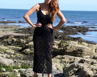 Black Moon, French Vintage, Black Sequin and Bead Evening Party Dress, from Paris