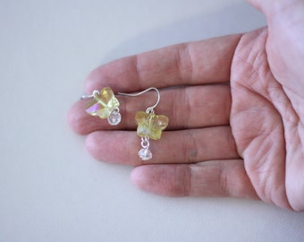 Light yellow Crystal Butterfly Bead Earrings - womens fashion jewelry - girls teens accessories