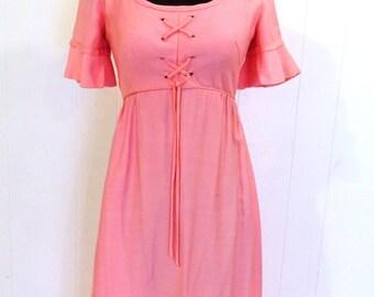 SALE vintage pink maxi dress - 1970s Emma Domb drawstring-top empire waist long dress