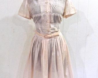 vintage pink eyelet dress - 1950s Nelly Don belted light pink cotton dress