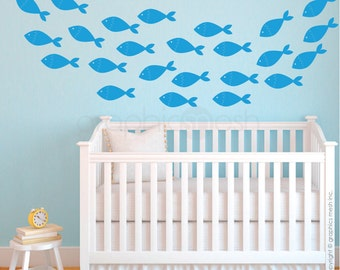 SCHOOL OF FISH wall decals - Nursery children decor - Underwater Set - by Decals Murals