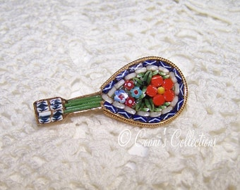 Vintage Micro Mosaic Madolin Brooch Colorful Great Condition Jewelry Micro Mosaic Guitar VTG Gold Tone Flowers Detailed Multicolored
