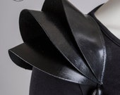 Fashion Shoulder pad / Black leather epaulet / Pauldron Shoulder armour / Edgy shoulder accessory / 3D sculptural fashion pouldron