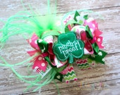 OTT - Over the Top St. Patrick's Day Boutique Style Hair Bow Pink Green Ostrich Puff