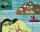 Nursery print of different animals around the world, mid century style illustration, bedroom decor boy
