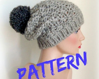 Knitting Pattern - Instant Download - Rustic Rice Pattern Knitted Beret - French Slouchy Hat - Winter Accessories - Winter Pompon Hat