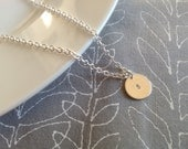Initial Necklace, Hand Stamped Personalized Initial Necklace, Silver Plated